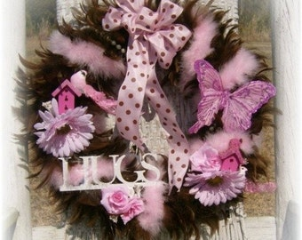 Whimsical Pink and Brown Feather Wreath Shabby Chic Decor, Cottage Style, Spring Decor, Girl's Room Decor