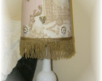 Pink and Brown Braemore Garden Rose Pink Toile Vintage Milk Glass Hobnail Lamp - Shabby Chic Decor
