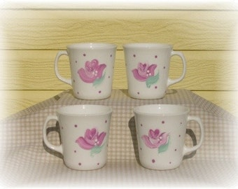 Hand Painted Shabby Pink Rose Cottage Coffee Cups - Shabby Chic Tea Party,Spring Decor