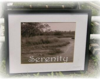 Sepia Black and White Photo SERENITY Framed Coastal Beach Marshland Nature Wall Art Print - Beach Home Decor