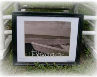 Framed Beach PARADISE Photograph Vintage Inspired Sepia Black & White Coastal Art - Nautical Decor