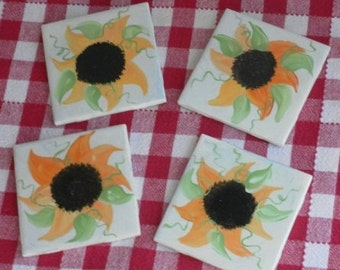 Hand Painted Farmhouse Country Sunflower Ceramic Tile Coaster Set