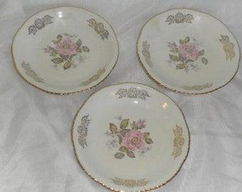 Shabby Cottage Chic Vintage Homer Laughlin Pink Rose Dessert Plates / Saucers
