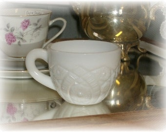 Shabby Cottage Chic Vintage Pressed  Milk Glass Punch Cup