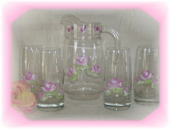 Hand Painted  Shabby Chic Pink Rose Pitcher and Glasses Set - Mother's Day Tea Party Decor