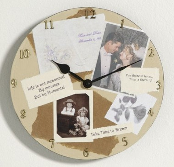 Personalized Photo Collage Wall Clock - Birthday, Wedding, Anniversary ...