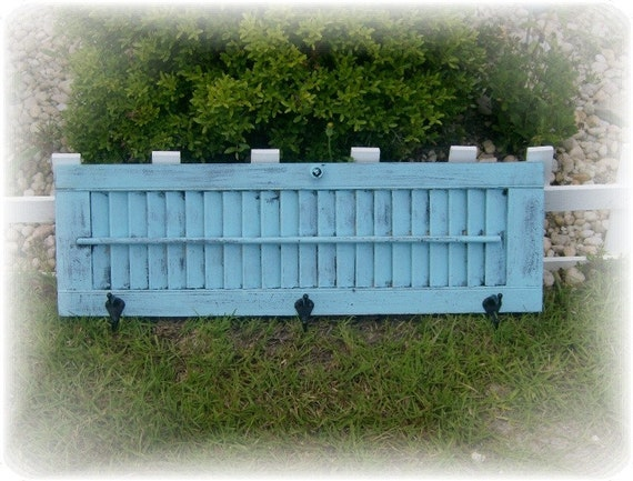 Repurposed Upcycled Vintage Shutter Coat / Towel Rack - Shabby, Beach Cottage Wall Decor