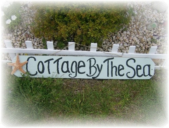 Handpainted Cottage By The Sea Wooden Sign - Beach Cottage Home Decor, Beach Sign, Painted Sign