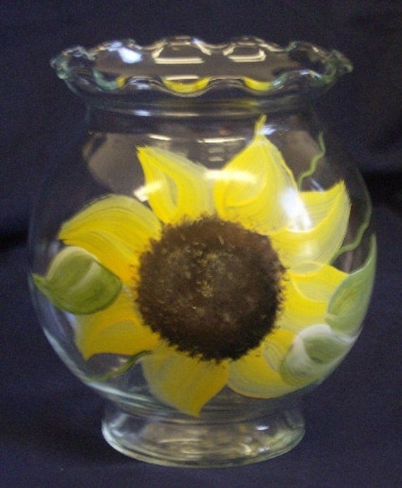 Hand Painted Country Farmhouse Sunflower Glass Candy Dish, Candle Holder, Ivy Bowl, Country Wedding Decor, Country Home Decor