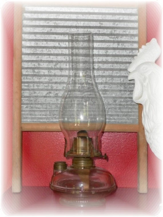 Vintage Glass Oil Lamp - Country Farmhouse Home Decor - On Sale