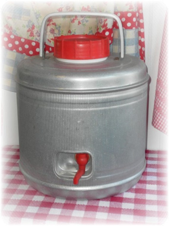 Vintage Poloron Featherflite Aluminum Thermos Picnic Jug - Summer Country Decor Perfect For Picnics, Camping and Tailgating Parties