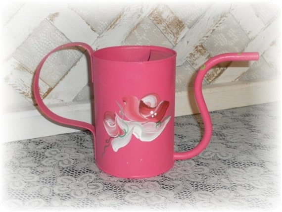 Hand Painted Shabby and Chic Pink Cottage  Rose Metal Watering Can