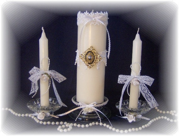 Handmade Unity Wedding Candle Set  - Lacey Vintage Victorian Style
