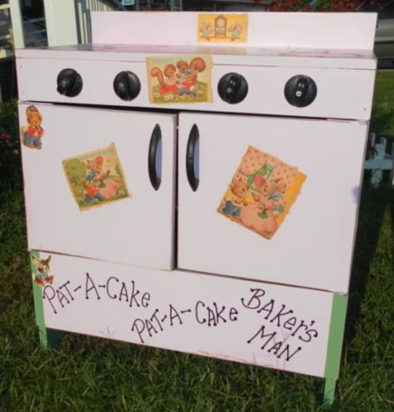 Personalized Upcycled Vintage Childrens Wood Toy Play Stove / Oven