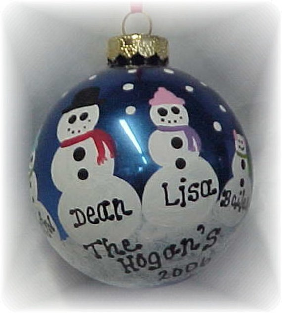 Personalized Snowman Christmas Tree Ornament - Custom Painted