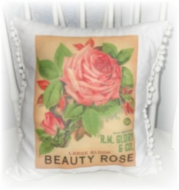 Vintage Style Rose Seed Packet Pillow - Shabby Chic Cottage Decor - Handmade Pillow, Rose Pillow