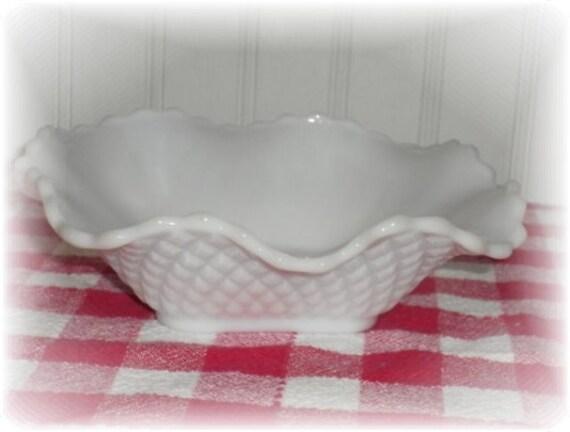 Vintage Scalloped Basket Weave Milk Glass Candy Nut Dish, Retro Decor, Mid Century