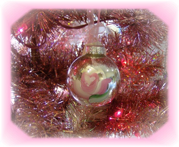 Shabby and Chic Silver Cottage Rose Hand Painted Christmas Tree Ornament