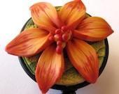 ID Badge Reel-Scissor Keeper Lily Flower in Tangerine