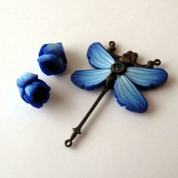 Bead Components Blue Dragonfly and Flower Drops