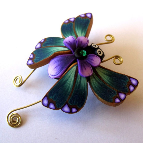 Teal Butterfly Bug Pin/Brooch