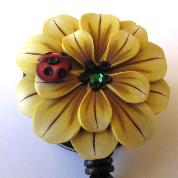 Sunflower Scissor Keeper ID Badge Reel with Ladybug