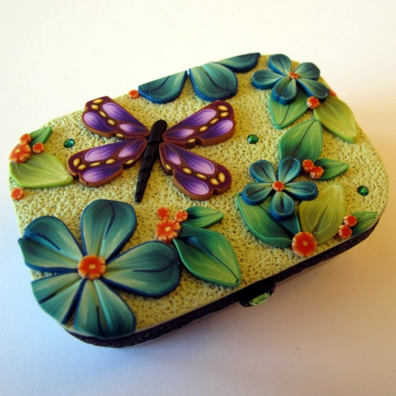 Purple Dragonfly Sewing Needle Case Hinge Top Tin