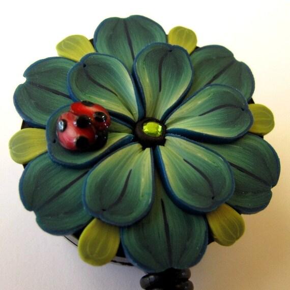 Teal Flower Scissor Keeper ID Badge Reel with Ladybug