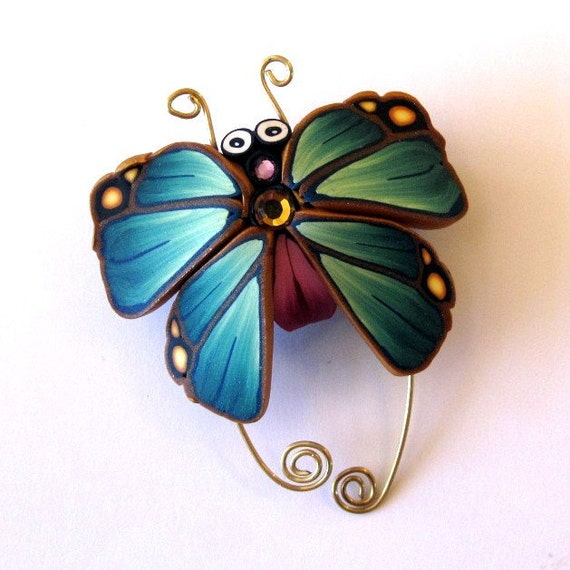Teal and bright Pink  Butterfly Bug Pin/Brooch