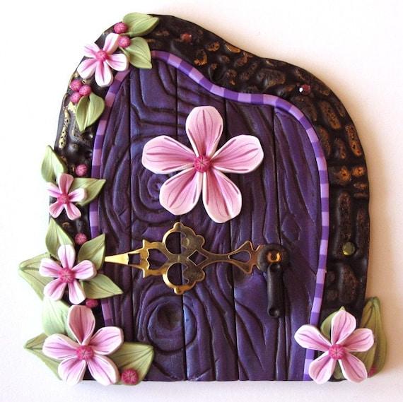Purple fairy door by claybykim on etsy for Purple fairy door