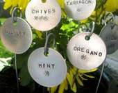 "Individual garden markers - hand stamped  1-1/2"" round.... qty 1"