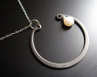 the man in the moon ... hardware, pearl and sterling necklace