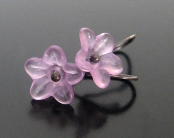 lavender blossoms ... lucite and sterling silver earrings