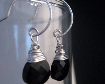 black swarovski crystal and sterling earrings