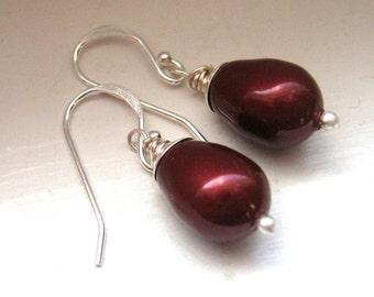 red pearl and sterling earrings - bordeaux, wine swarovski crystal pearls