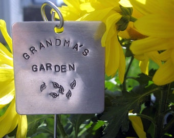 """Extra Large hand stamped garden / herb marker .. 2"""" square"""