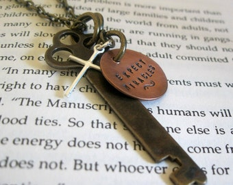 expect miracles ... antique skeleton key, sterling silver cross and handstamped copper coin necklace