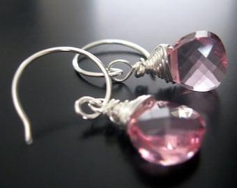 pink swarovski crystal and sterling earrings