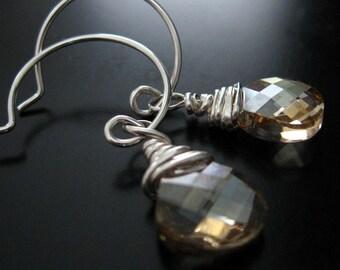 swarovski crystal sterling silver earrings - golden shadow