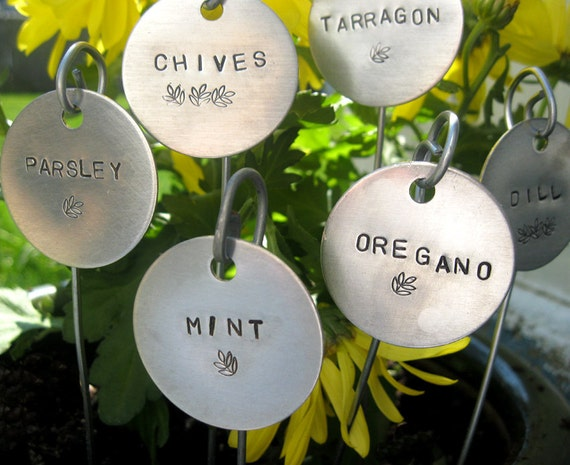 """garden markers - hand stamped  1-1/2"""" round.... qty 6 CHOOSE YOUR OWN"""