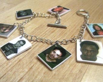 Celebrity Mug Shot Charm Bracelet