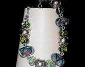 Mermaids Spirit Handcrafted Lampwork Focals Czech glass and Bali Sterling accents Bracelet blues green silver pink lavender