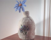 Felted Oatmeal Vase with needle felted floral design and Blue Aster Flower