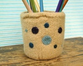 Felted Pencil Cup in Dijon Yellow with Polka Dots
