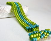 ON SALE - Sea and Spring Reversible Beadwoven Bracelet - the Lilly Collection
