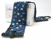 Deep Blue Bricks Beadwoven Cuff Bracelet - Another Brick in the Wall Collection