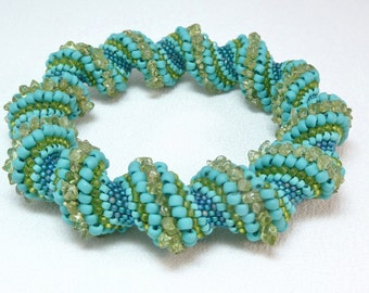 ON SALE - Smooth Sailing Cellini Spiral Beadwoven Bangle Bracelet - The Twisted Collection