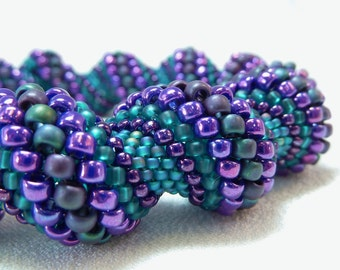 Deepening Twilight Cellini Spiral Beadwoven Bangle Bracelet - The Twisted Collection
