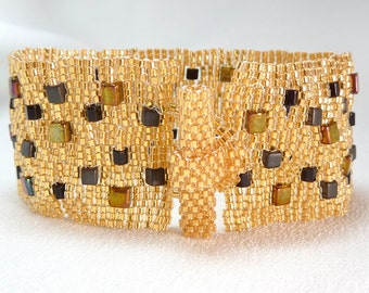 Golden Bricks Beadwoven Cuff Bracelet - Another Brick in the Wall Collection