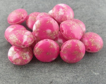 Vintage Bright Pink Gold White Granite Lucite Discs 12mm